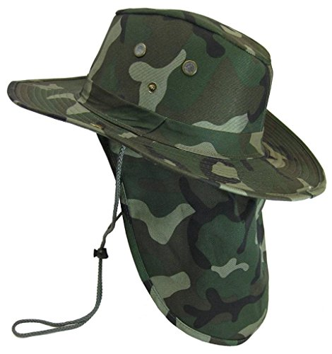 The Hat Jungle boonie Bucket Hat Neck Flap Tactical Wide Brim Outdoor Military, Green Camo, Large]()