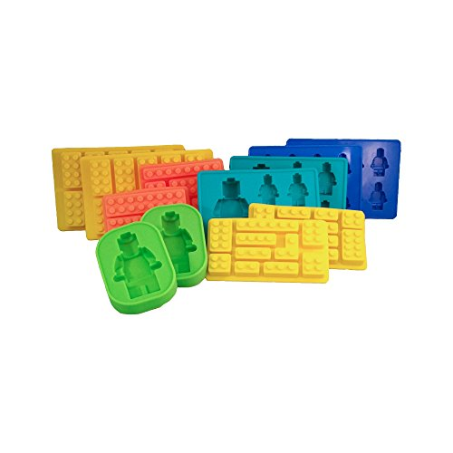 Price comparison product image Minifigures + Brick Silicone Ice Cube Trays,  Jello,  Gummy Candy & Cake Baking Molds For Lego Lovers - 12 Pcs