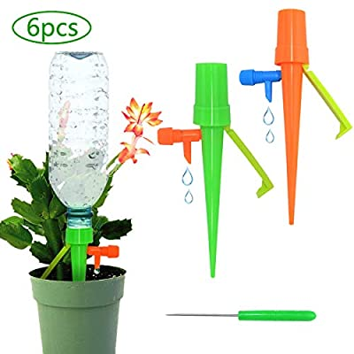 Automatic Plant Waterer Indoor Outdoor, Upgrade Irrigation Drippers, Plant Watering Stakes for Vacation, Plant Self Watering Spikes with Slow Release Control Valve (6)