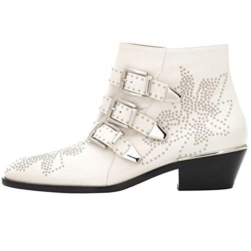 Themost Ankle Boots Womens Genunie Leather Rivet Studded Buckle Strap Designer Boot Low Heel -