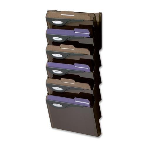 Rubbermaid Wall File System Set, 7 Compartments, 13''x4''x29-1/4'', Smoke (L16663)