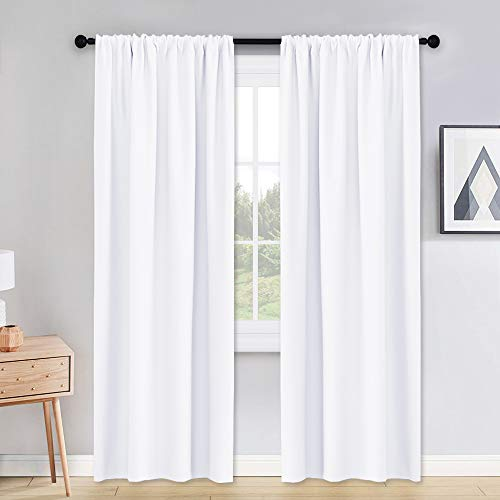 PONY DANCE Pure White Curtains - 42 x 90 inches Long Window Covering Rod Pocket Soft Fabric Polyester Drapes Room Darkening Thermal Curtain Draperies for Home Decoration, 2 Pieces