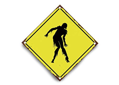 wendana Zombie Halloween Crossing Sign Funny Yellow Aluminum Metal Signs Vintage Yard Sign Wall Plaque Decor 12