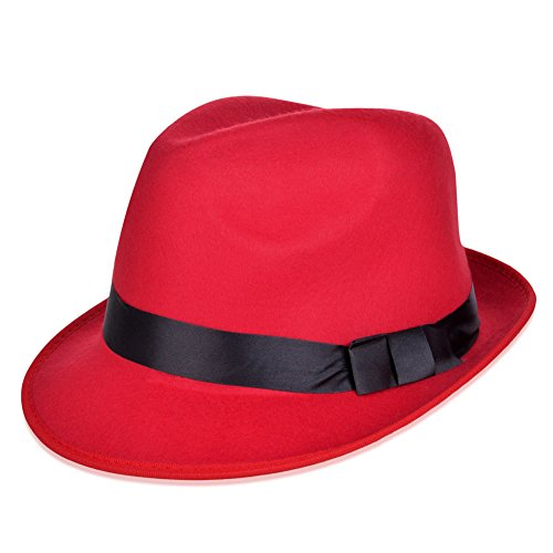 Vbiger Fedora Hats Bowler Hat Gangster Porkpie Derby Hats (Dark Red) (Red And Black Fedora Hat)