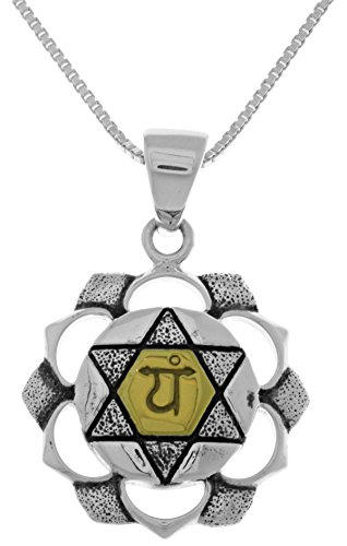 Jewelry Trends Sterling Silver and 14k Gold-Plated Anahata Heart Chakra Pendant on 18 Inch Chain Necklace - Plain High Polish Prayer Box