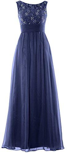 MACloth Women Lace Chiffon Long Prom Dress Wedding Party Formal Evening Gown Dunkelmarine xeAfQgJtv