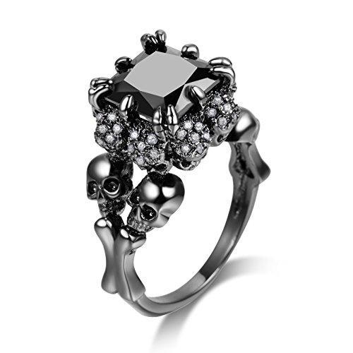 DALARAN Unique Skull Rings Square Black Cubic Zirconia Gothic Ring for Girls Size - Crystal Skull Ring