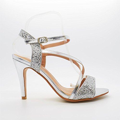 Londres calzado Josiane, de tacón para mujer sandalias plata
