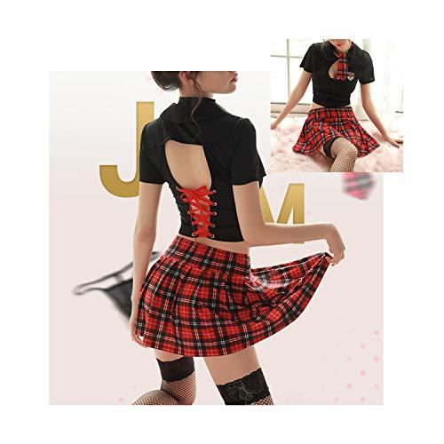 Glife Women Sexy School Girl Costume Lingerie Back Tie Outfits Mini Plaid Skirt Uniform