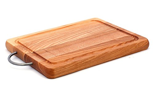 Cutting Board With Juice Groove and Metal Handle, Wooden Platter (12x8x1 inch)