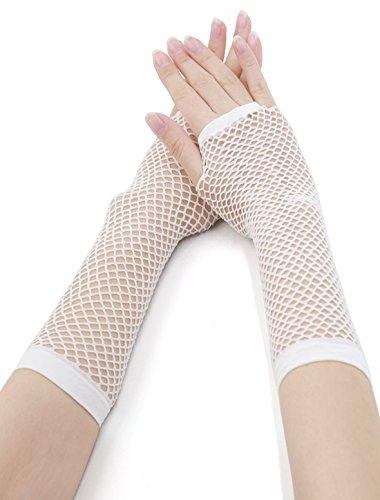 Allegra K Women Elbow Length Fingerless Fishnet Gloves 2 Pairs White