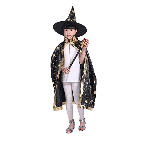 Teddy Spirit Halloween Costumes Witch Wizard Cloak with Hat for Kids Boys Girls (Black) (Wizard Boy Costume)