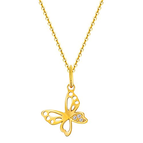 Carleen Solid 14K Yellow Gold Butterfly Diamond Pendant Necklace for Women Girls with 0.03cttw Diamond, 18