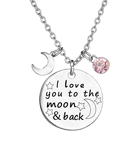 TISDA Birthstone Crystals Necklace,I Love You To The Moon And Back Jewelry Necklace (October)