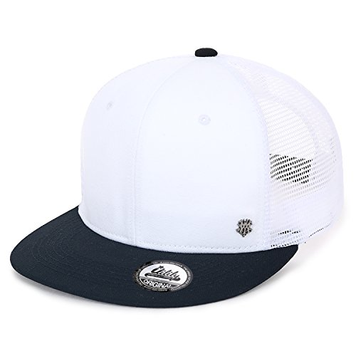 ililily Extra Large Size Solid Color Flat Bill Snapback Hat Blank Baseball Cap (X-Large, White&Black)