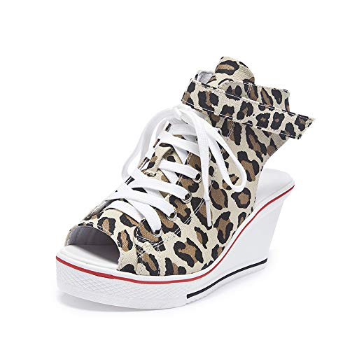 Sokaly Women's Canvas Shoes Wedge Heeled Platform Sneaker Fashion Pump Shoes (8.5 B(M) US, Leopard ()