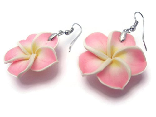 - CHADADA Jewelry Hawaiian Fimo Plumeria Flower Dangle Earrings Handmade for Women (Light Pink) EH3