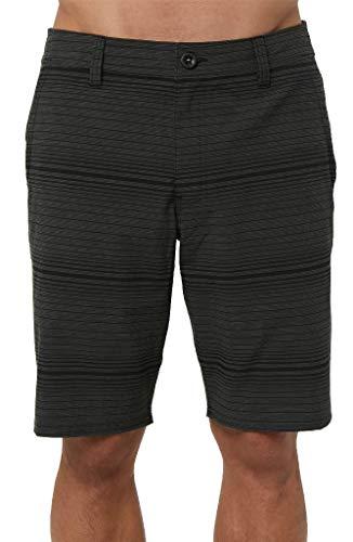 O'Neill Men's Water Resistant Hybrid Walk Short, 20 Inch Outseam (Black/Locked Stripe, -