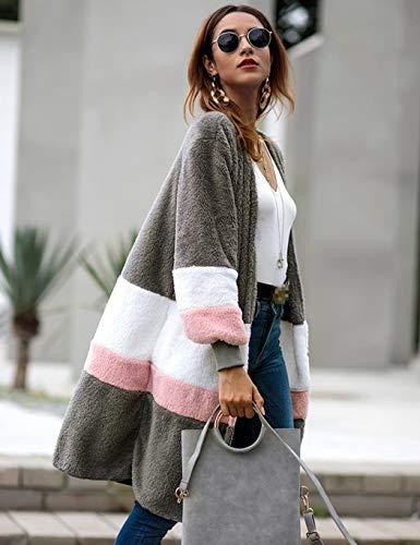 Longues Contrastante Décontractée Couleur Manches Blousons Manteau À Et Gray De Pour Cokil Décontracté Femmes H8qB6WI