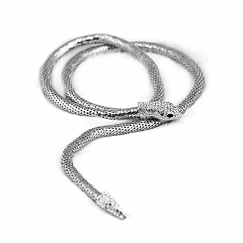 (Beuu Colorful Punk Serpentine Necklace Fashion Exaggerated Dual-Purpose Gold/Sliver Long Shape Snake (Silver) )