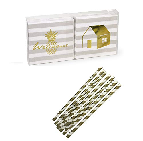 Boston International Gold Foil Stamped 3-Ply Paper Cocktail Napkins,Welcome Home, 40-Count and 20 ct Gold and white Striped Paper Straws