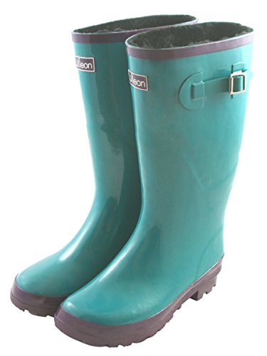 Jileon Wide Calf All Weather Durable Rubber Rain Boots For Women with (Shaft Rain Boot)
