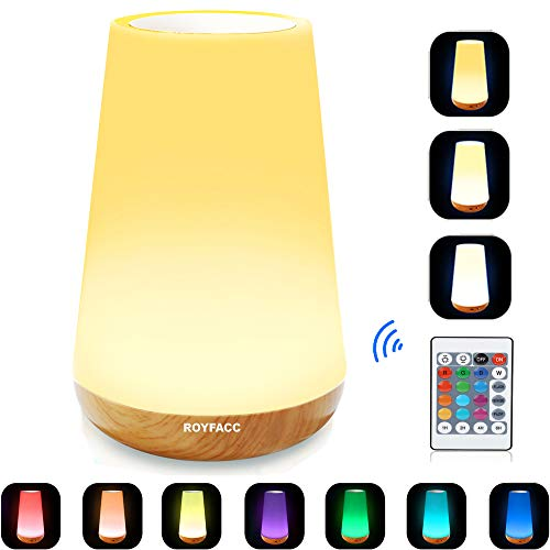 - ROYFACC LED Nursery Night Light Touch Lamp Bedside Table Lamp for Kids Bedroom Rechargeable Dimmable with Remote Control and Timing Function Warm White Light + RGB Color Changing