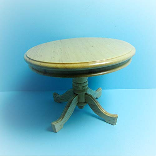 Dollhouse Kitchen/Dining Room Table Round Pedestal in Oak KL2095 - Miniature Scene Supplies for Your Fairy Garden - Doll House - Outdoor and House Decor