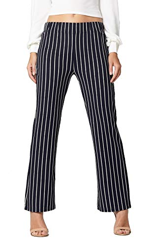 Pants Blue Stripe - Conceited Women's Pants Casual Palazzo Straight Bootcut Striped Trousers - Elastic High Waist - Stripe Navy Blue - YC1726H-1-Navy-LX