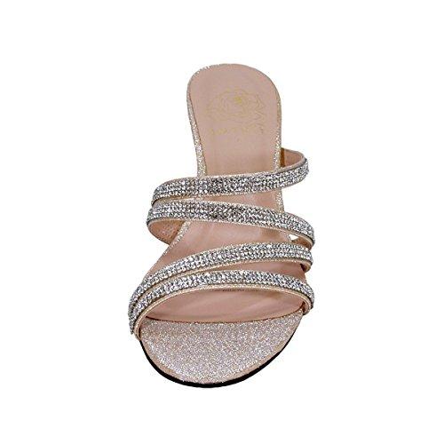 Bloemen Kelly Vrouwen Extra Breed Strass Strappy Slip On Wedge Hak Partij Sandalen (grootte / Meting) Champagne