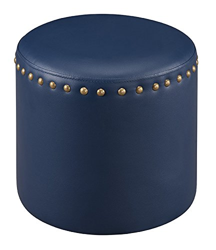 Kings Brand Furniture Nailhead Trim Upholstered Stool Ottoman (Blue) (Vinyl Round Ottoman)