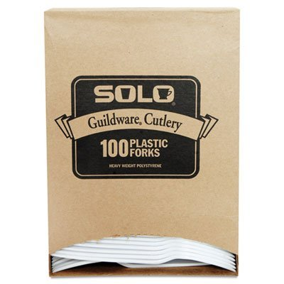 Guildware Extra Heavy Weight Plastic Forks, White, 100/Box, Sold as 1 Box, 100 Each per Box by SOLO Cup Company