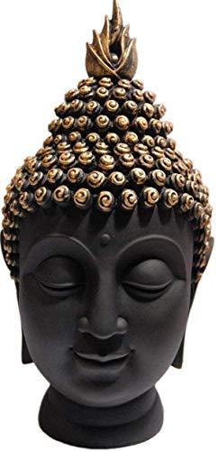 StoresHub Resine Palm Buddha Idol Statue Showpiece for Home Decoration (Black)