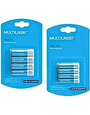 8- Pilhas Recarregáveis Sendo 4 Aa E 4 Aaa - Multilaser