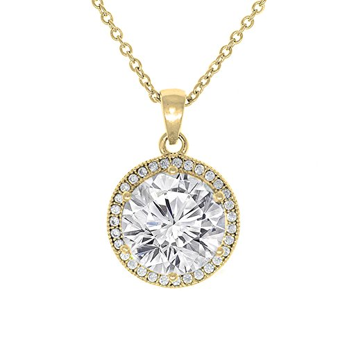 Cate & Chloe Mariah 18k Yellow Gold Plated Round Cut CZ Halo Pendant Necklace - Cubic Zirconia Halo Cluster Gold Necklace w/Solitaire Round Cut Crystal - Wedding Anniversary Jewelry - MSRP - $150 - Circle Zirconia Necklace