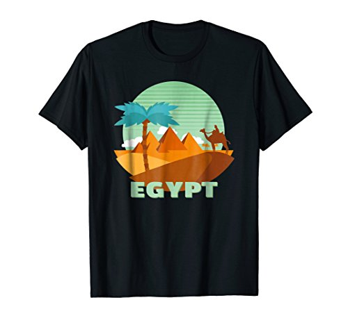 Egypt Country Pyramids, Camel, Palm Tree Souvenir T-Shirt