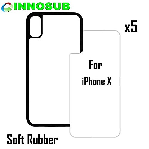 detailed pictures fed8c 60eda 5 x Apple iPhone X-Rubber-Black - blank dye case + inserts for dye  Sublimation phone cover/blank Printable case, Made by INNOSUB USA