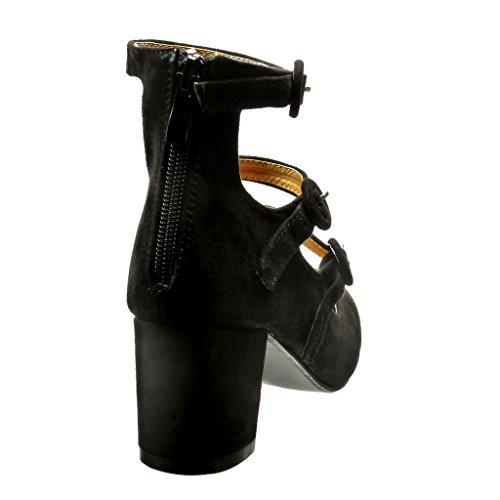 Angkorly - Zapatillas de Moda Tacón escarpín mujer Hebilla tanga Talón Tacón ancho alto 6 CM - Negro