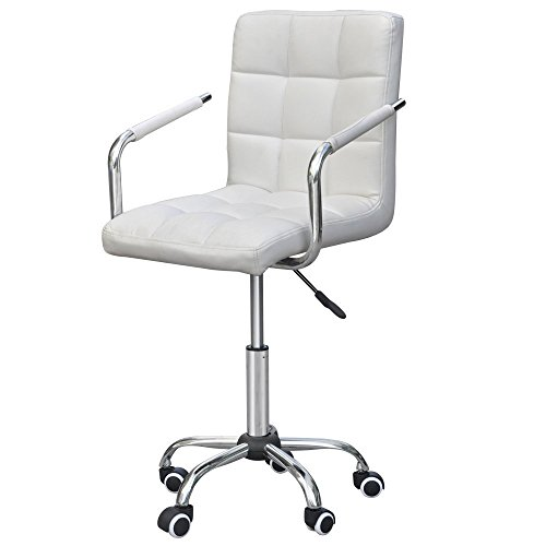 Cheap yaheetech modern pu leather midback adjustable for Desk chair white leather