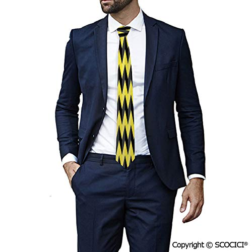 Polyester Tie Black And Yellow Chevron Pattern Danger for Special Event,Party