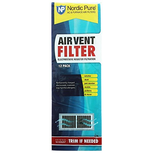 Air Vent Filters 1 Pack of 12- 4x12 (Register Vent Filters) - by Nordic Pure (Hvac Forced Air)