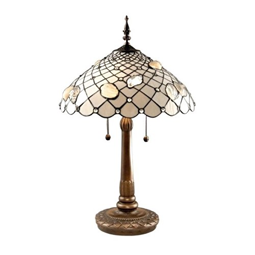 - Dale Tiffany TT60055 Tiffany Shells Table Lamp, Antique Brass and Art Glass Shade