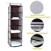 ITIDY Hanging-Shelves-Closet-Organizer,Premium Canvas Fabric 6 Shelves Hanging Storage Closet Organizer