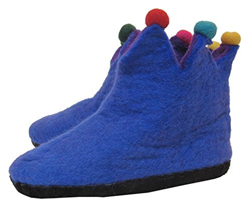 Hand Felted Wool Jester Slippers with Leather Sole - Certified Fair Trade (9 - 10, Blue) (Jester Shoes)