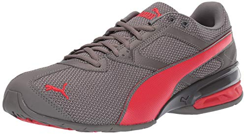 (PUMA Men's Tazon 6 Sneaker Charcoal Gray-high Risk red 12 M US)