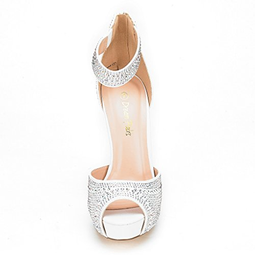 white Dress Shine Women's PAIRS High Heel Swan Plaform Pump Shoes DREAM pBvOwFq