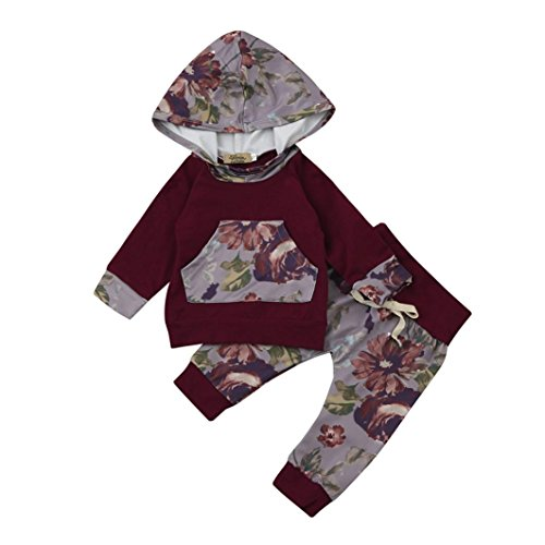 Newborn Baby Boy Girl Toddler Floral Long Sleeve Hoodie Tops Pants Clothes Set Outfits