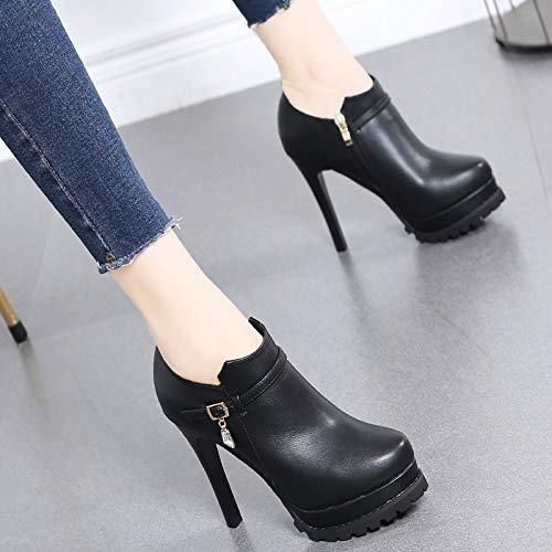 Fun high Of 10cm Platform Heel Waterproof Temperament Thin seven Boots Shoes Lbtsq Thirty Short Drill Kinds All Martin trentotto Bare AqwxSW
