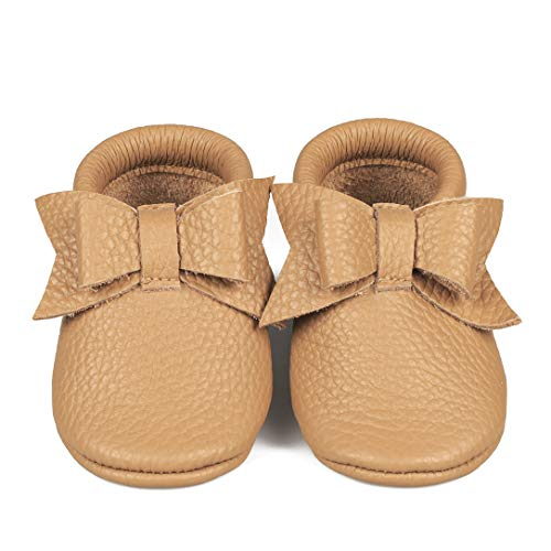 Baby Moccasins with Bow (Italian Leather) Soft Sole Shoes for Boys and Girls   Infants, Babies, Toddlers (S   9-12 mo.   4.9