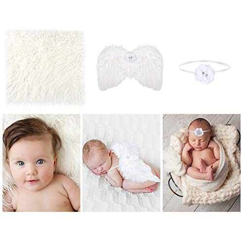 (Auihiay 3 Pieces Baby Feather Angel Wings with Infant Flower Headband and Photography Mat for Newborn Baby Photography Props Costume (White))